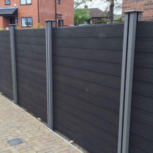 Black Composite Wood Fencing with Grey Posts